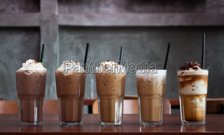 five different kind of iced coffee
