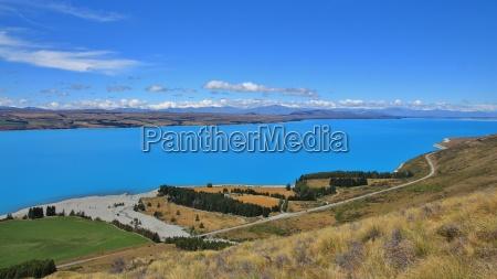 turquoise lake pukaki and river delta