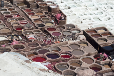 workers processing hides in colorful tanning