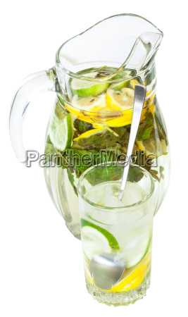 glass pitcher and tumbler with natural