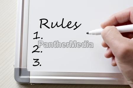 rules written on whiteboard