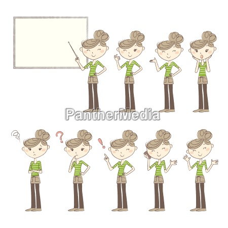 set of poses and emotions women