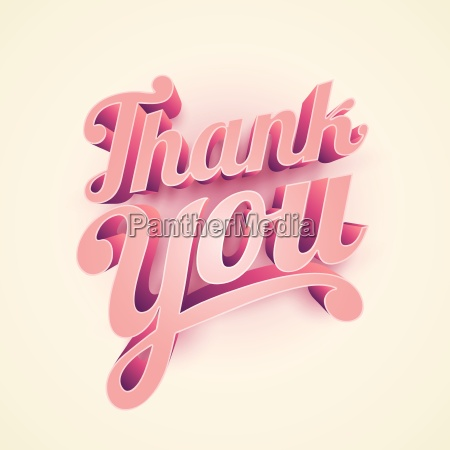vector 3d thank you typographic design