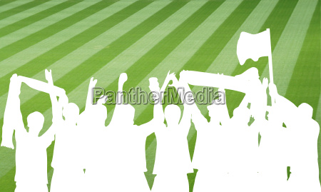 silhouette of football fans in the