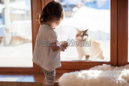 best friends cat and little girl