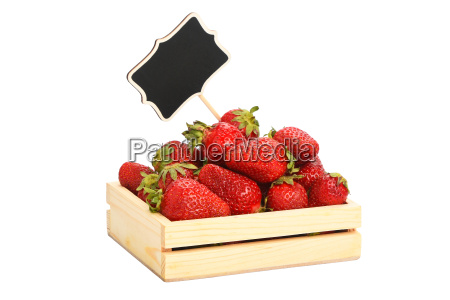 strawberry in wooden box with price