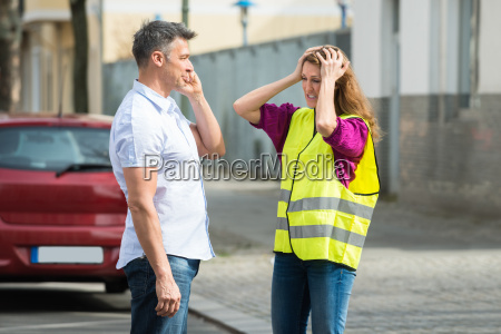 couple calling on mobile phone with