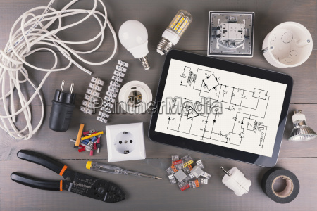 digital tablet with circuit scheme and