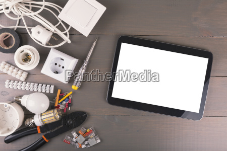 blank digital tablet with electrical tools