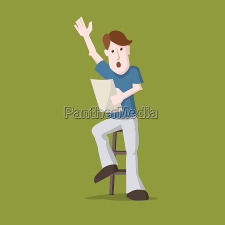 vector illustration young man speaking