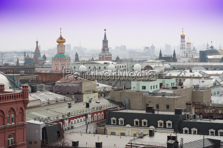 moscow downtown streets from above background