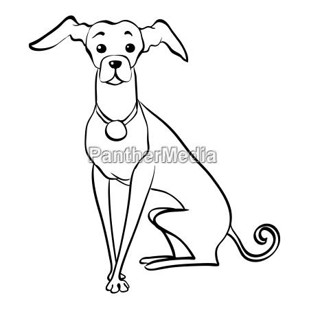 vector sketch funny italian greyhound dog