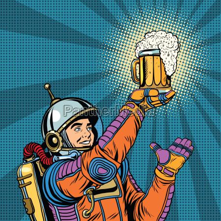 retro astronaut and a mug of