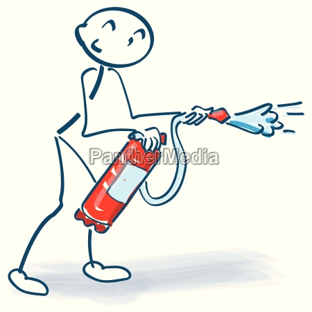 stick figure with fire extinguishers in
