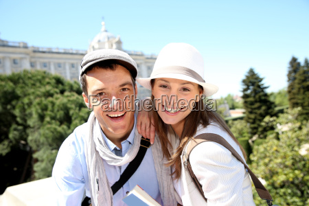 portrait of cheerful couple in front