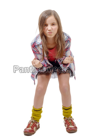 preteen girl in hipster style angry