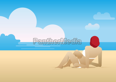 woman, lying, on, the, beach - 17800958