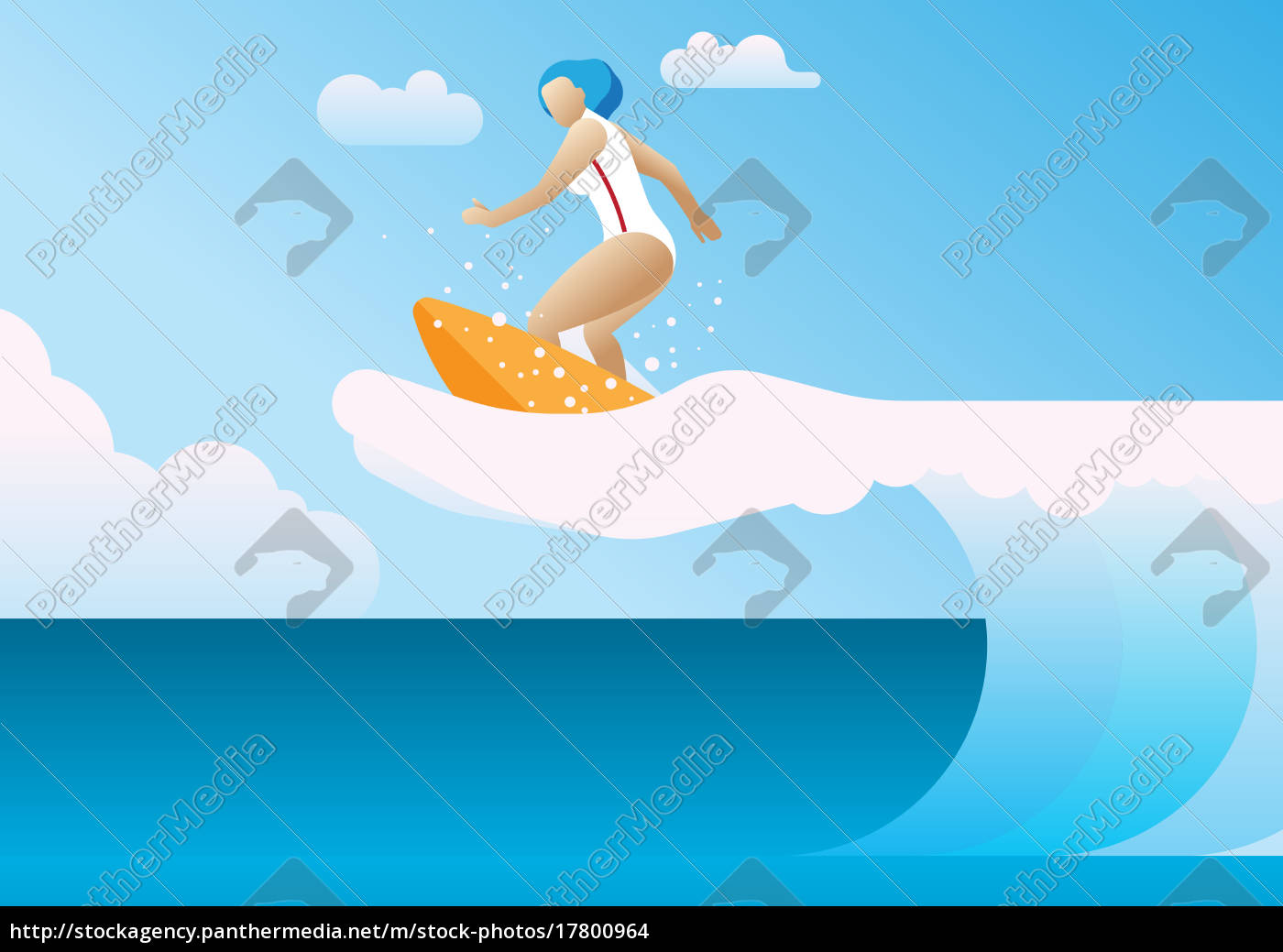 woman, surfing, the, waves, a, hand - 17800964
