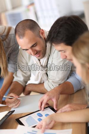 business team working on marketing plan