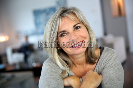 portrait of attractive and serene mature