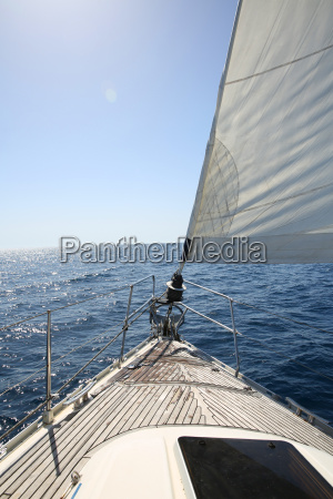 clsoeup of boat sail and deck
