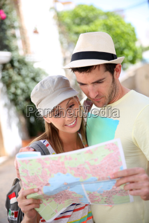 couple of tourists in the street