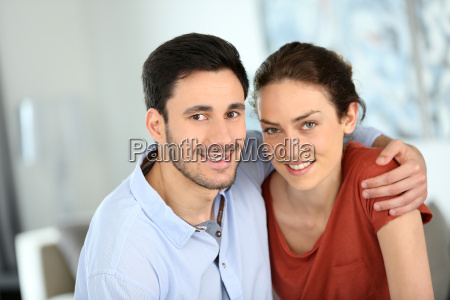 portrait of loving couple at home