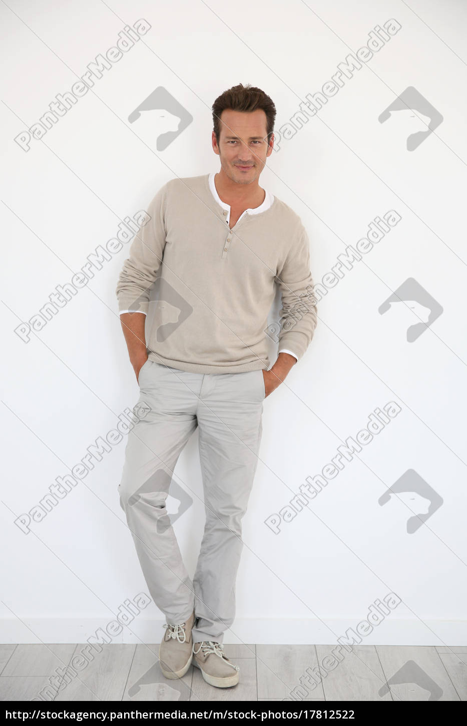 40 Year Old Man On White Background