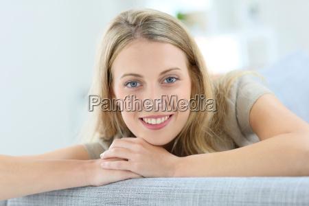 portrait of beautiful blond woman relaxing