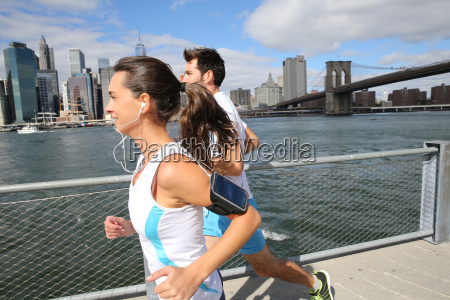 couple of joggers running on brooklyn