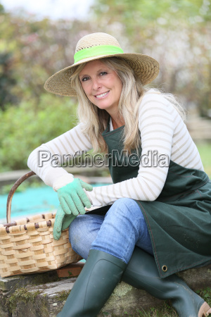 portrait of smiling woman in vegetable