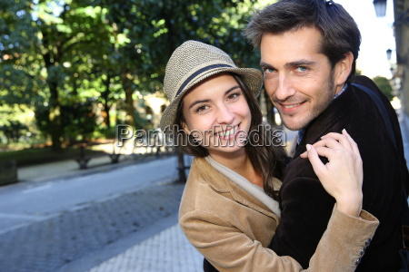 cheerful couple on a shopping day