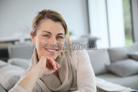 portrait of mature woman relaxing in