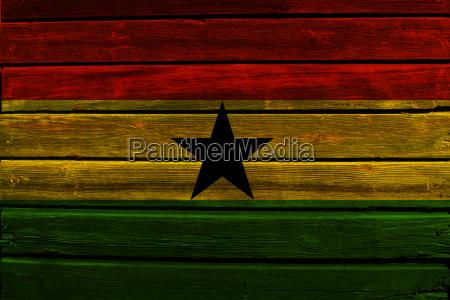 flag of ghana on wood