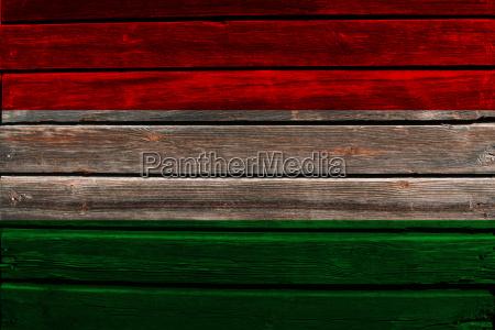 flag of hungary on wood