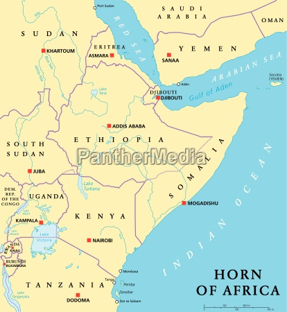 horn of africa political map