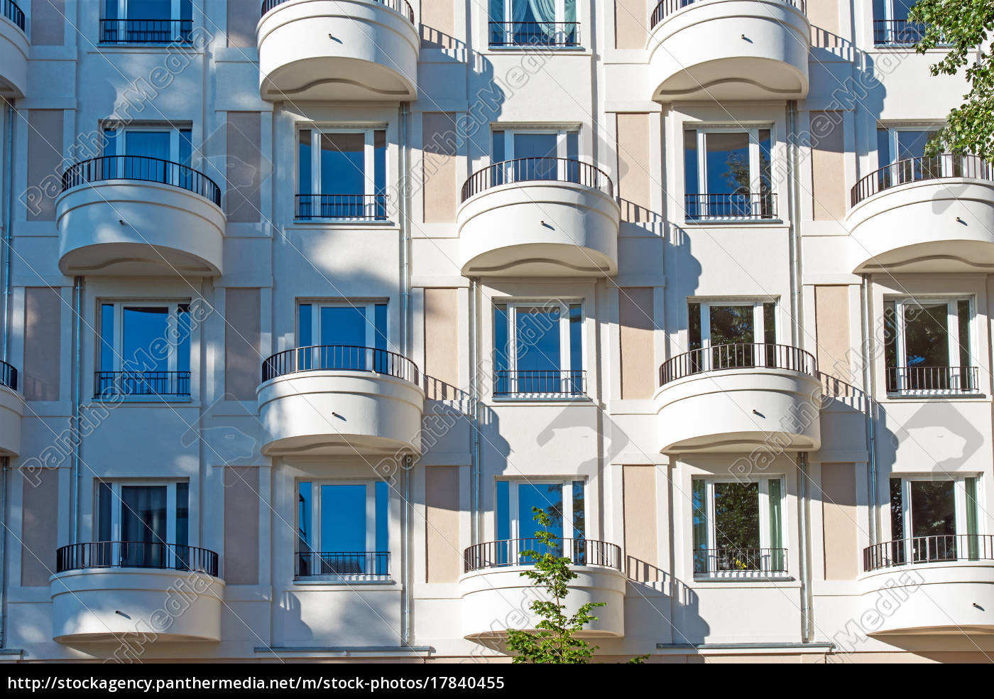 Stock Photo 17840455 - facade of a modern apartment building in berlin with  round
