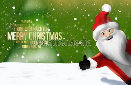 christmas multilingual santa claus thumbs up