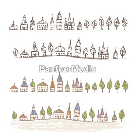 pointed roofed cute houses