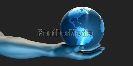 businessman holding the world in his