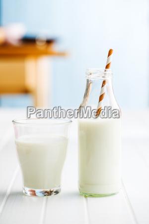 fresh milk in glass bottle