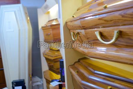 display of coffins