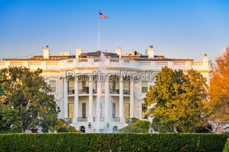 the white house at sunset