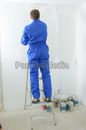 decorator stood up a ladder