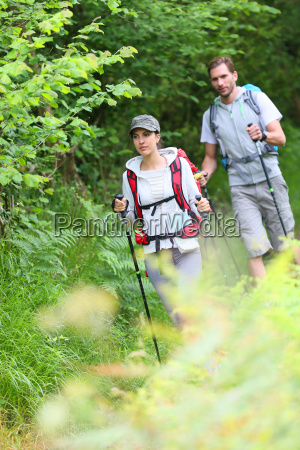couple of hikers walking in natural
