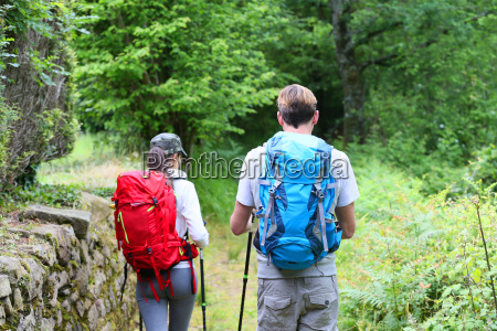 back view of couple of hikers