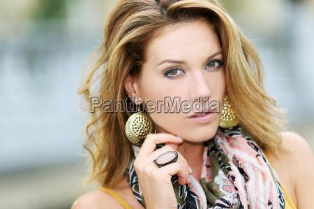 portrait of beautiful smiling woman fashion