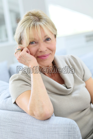 portrait of senior woman relaxing in