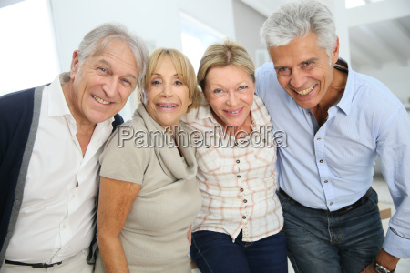 group of happy active senior people
