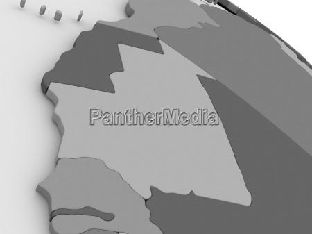mauritania on grey 3d map